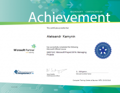 Microsoft certificate of Achievement